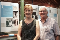 Joseph & Margaret Teeling next to their panel in the 'Newly Married Wives' section of the exhibition at the National Print Museum.