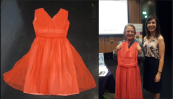 Ciara Meehan (right) with Deirdre Torpey (left) and her 1962 dress which she brought to the road show at dlr LexIcon in Dún Laoghaire